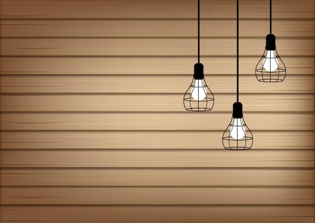 Mock up 3d realista de madeira e lâmpada
