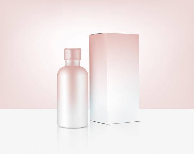 Mock up de garrafa realista ouro rosa cosméticos e caixa para produtos para a pele