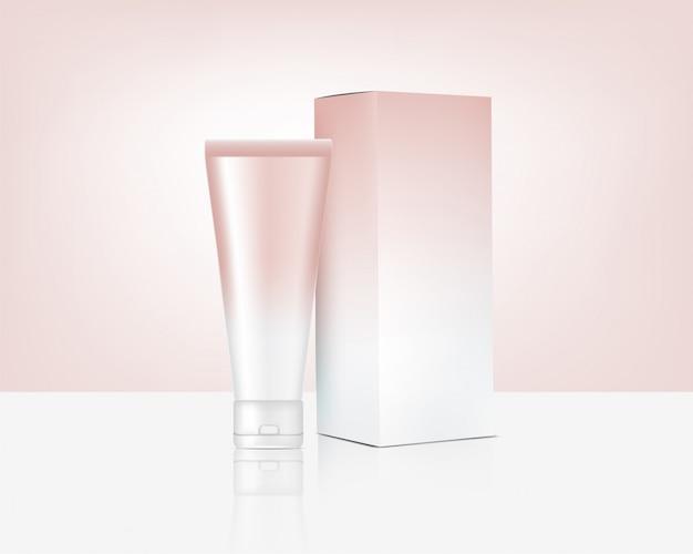 Mock-up de tubo realista cosméticos e caixa de ouro rosa para produtos para a pele