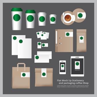 Mock up flat artigos de papelaria e embalagens coffee shop