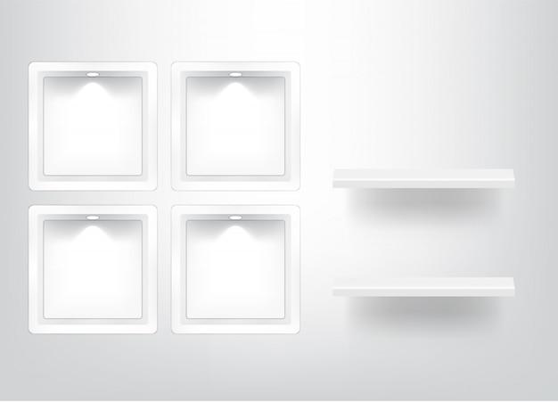 Mock up realista quadrado vazio prateleira