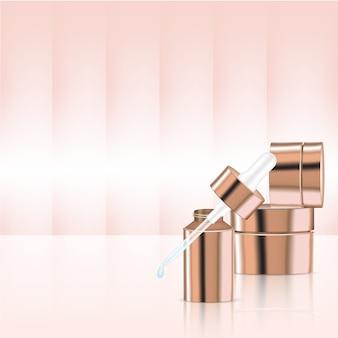Mock up realistas rose gold pastel cosméticos conta-gotas