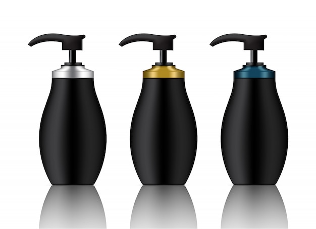Mock up realistic black bottle set ilustração de fundo