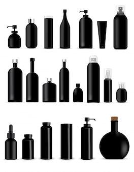 Mock up realistic black bottles para skincare product packaging