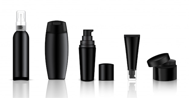 Mock up realistic black cosmetic bottle para sabonete, creme e spray