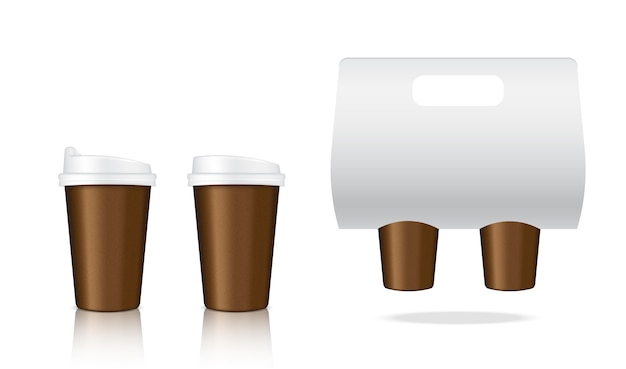 Mock up realistic coffee paper cup embalagem produto
