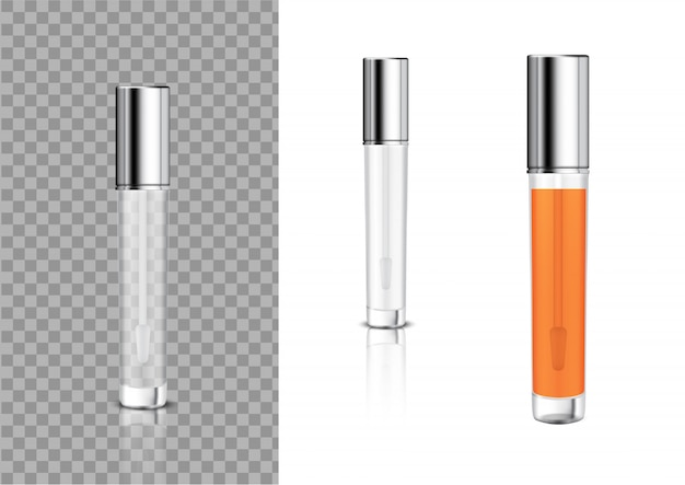 Mock up realistic cosméticos lip gloss bottle