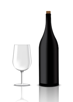 Mock up realistic premium vinho tinto