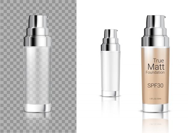 Mock up realistic transparent bottle sabonete cosmético