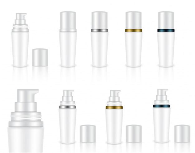 Mock up realistic white cosmetic soap gel garrafas