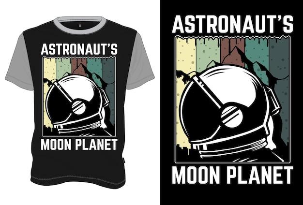Mock up t-shirt astronaut's moon planet retro vintage style