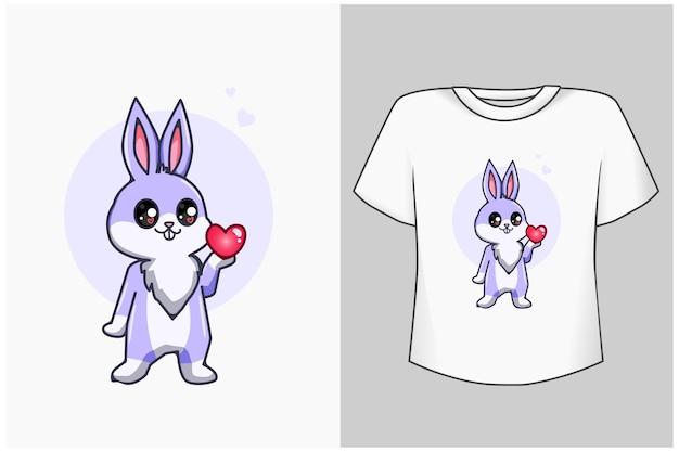 Mockup coelhinho com desenho de amor