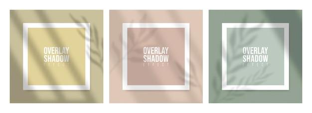 Mockup de papel quadrado com folhas de sobreposição de sombras realistas em fundo bege