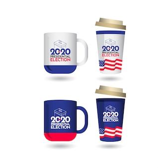 Mockup votação eleição presidencial 2020 estados unidos vector template design ilustração