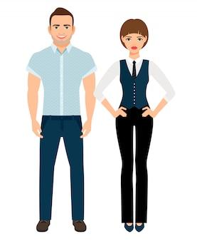 Moda casal elegante. homem na camisa polo e mulher de colete e calças. ilustração vetorial