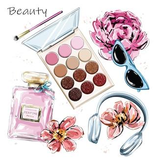 Moda com perfume, óculos de sol, fones de ouvido, sombras e flores