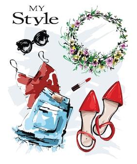 Moda com sapatos, roupas, óculos de sol, grinalda, batom