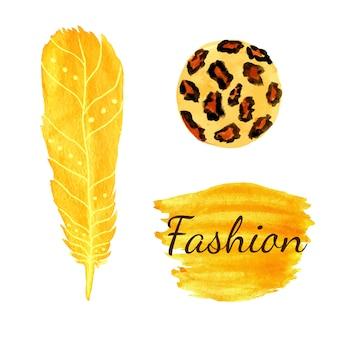 Moda de aquarela ajustada em cor amarela. textura do círculo de leopard, pena. vetor étnico.