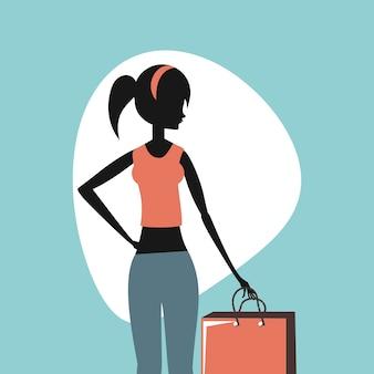Moda de mulher com ilustração em vetor estilo retro bolsas