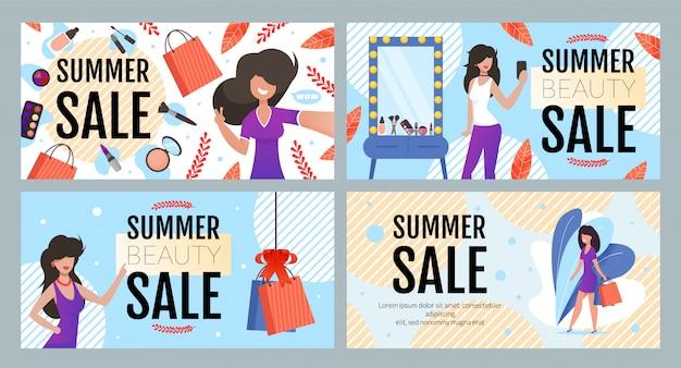 Moda de verão e venda de beleza banner set