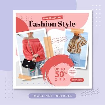 Moda elegante estilo venda nas mídias sociais postagem no instagram