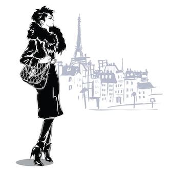 Moda elegante gráfico desenhado à mão original com uma linda jovem modelo para design. esboço de desenho gráfico com mulher.