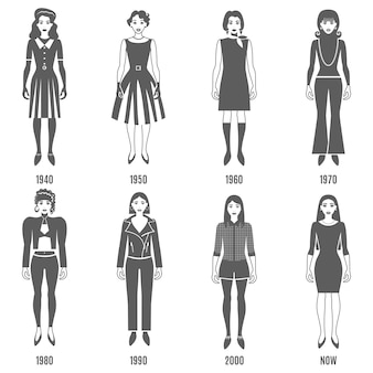 Moda evolução preto conjunto de caracteres