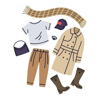 Moda feminina aparência casual trench coat calças botas acessórios conjunto de vetores