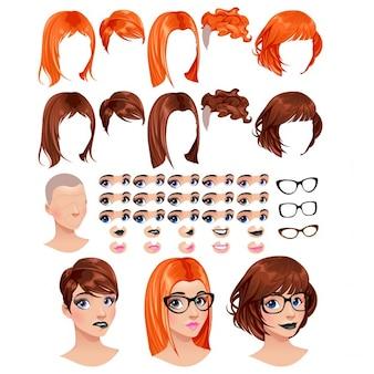 Moda feminina avatares 5 penteados em 2 cores 5 olhos em 3 cores 5 bocas em 2 cores 3 copos 1 de cabeça para várias combinações alguns previews sobre os objetos de arquivo vetorial de fundo isolados