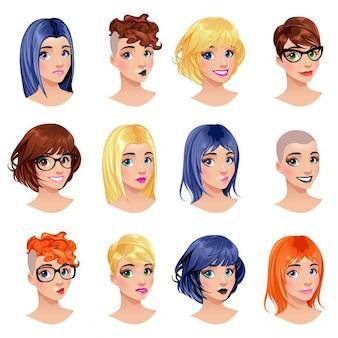 Moda feminina avatares penteados olhos e bocas são arquivos vector intercambiáveis objetos isolados