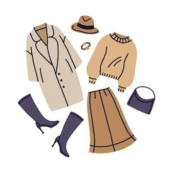Moda feminina em tons de bege na moda roupa casual olhar cartoon ilustração vetorial