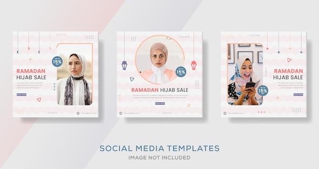 Moda hijab mulher muçulmana com postagem de modelo de banner de venda colorida para ramadan kareem