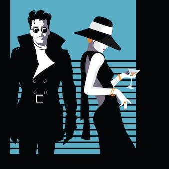 Moda homem e mulher no estilo pop art. ilustração vetorial