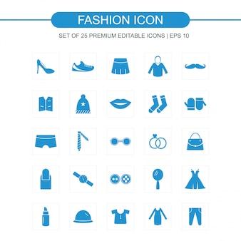 Moda, ícones, jogo, azul
