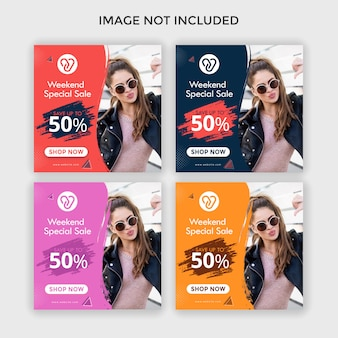 Moda instagram anúncios quadrado banner