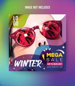 Moda inverno social media post template premium