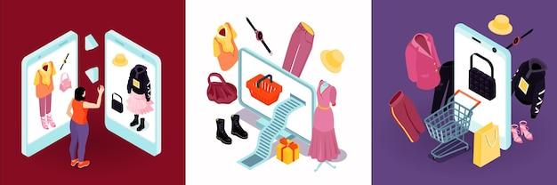 Moda isométrica de compras online com ícones de acessórios de roupas e sapatos com aparelhos eletrônicos