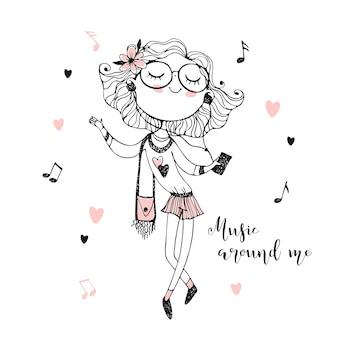 Moda linda garota adolescente em boina e óculos, ouvindo música com fones de ouvido. coloração