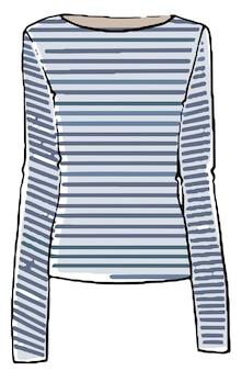 Moda marítima ou náutica, camiseta com mangas