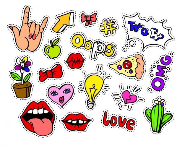 Moda moderna doodle emblemas de remendo de desenhos animados ou stikers