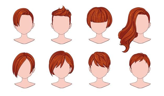 Moda moderna mulher penteado bonito para variedade.