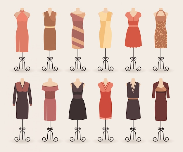 Moda mulher coleção de vestidos de compras. conjunto de vestidos de noite em um manequim.