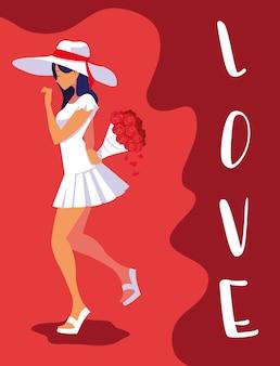 Moda mulher com chapéu e buquê em cartaz de amor