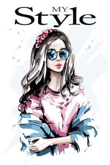 Moda mulher com coroa de flores no cabelo