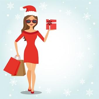 Moda mulher com sacolas de compras