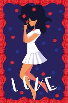 Moda mulher em cartaz amor com flores rosas