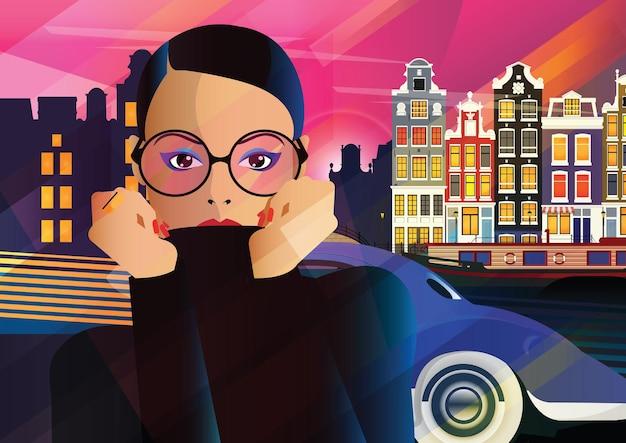 Moda mulher em estilo pop art em amsterdam. ilustração de moda