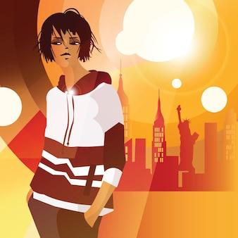 Moda mulher em estilo pop art em nova york. ilustração de moda