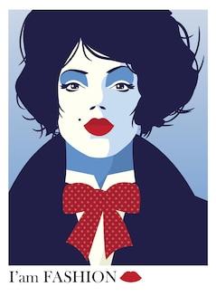 Moda mulher em estilo pop art. ilustração vetorial