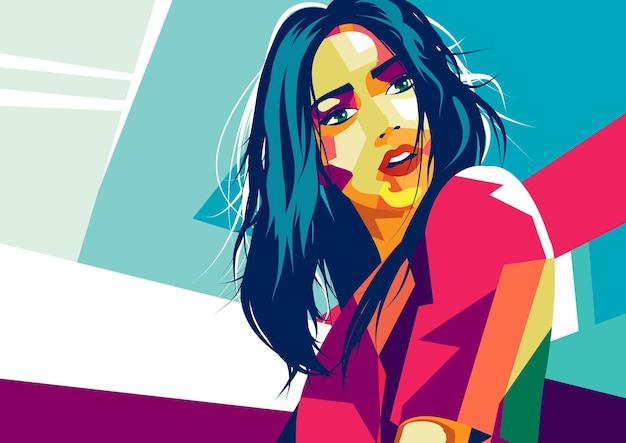 Moda mulher em estilo pop art. ilustração